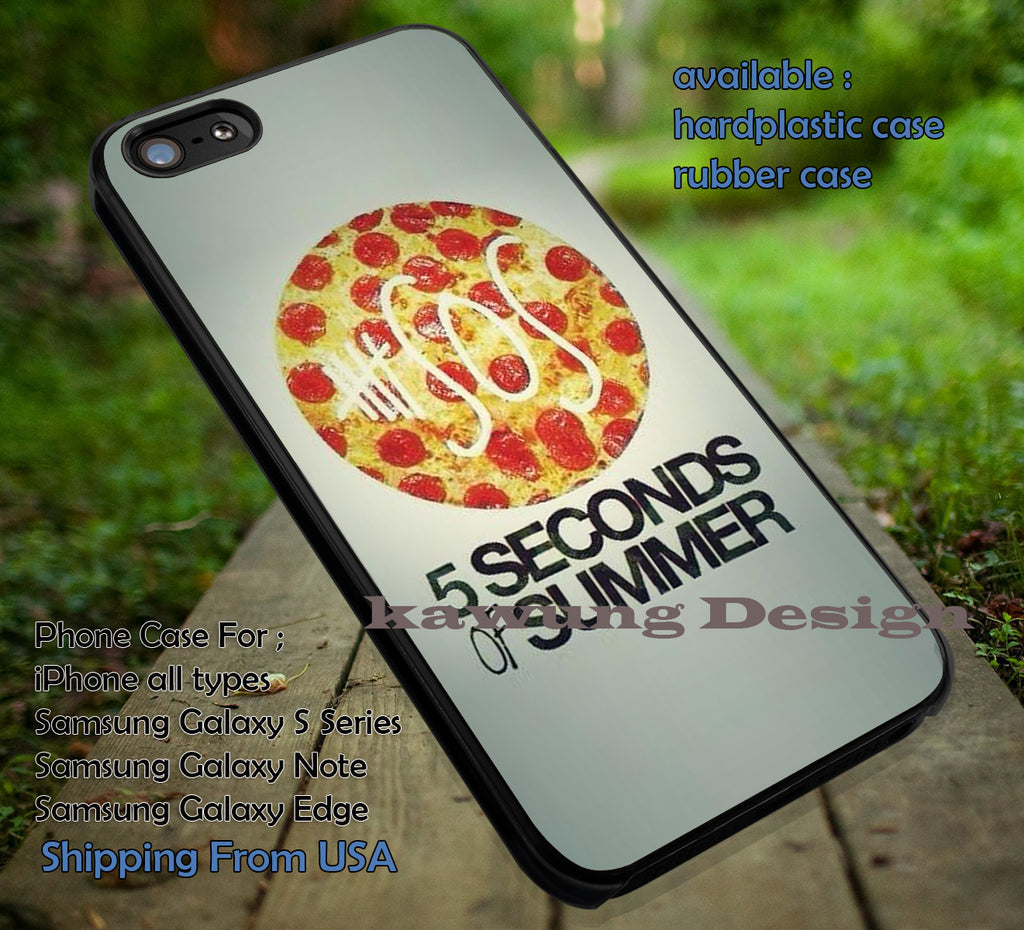 Music group, pizza 5sos,5 Second of Summer, case/cover for iPhone 4/4s/5/5c/6/6+/6s/6s+ Samsung Galaxy S4/S5/S6/Edge/Edge+ NOTE 3/4/5 #music #cartoon #5sos ii - Kawung Design  - 1