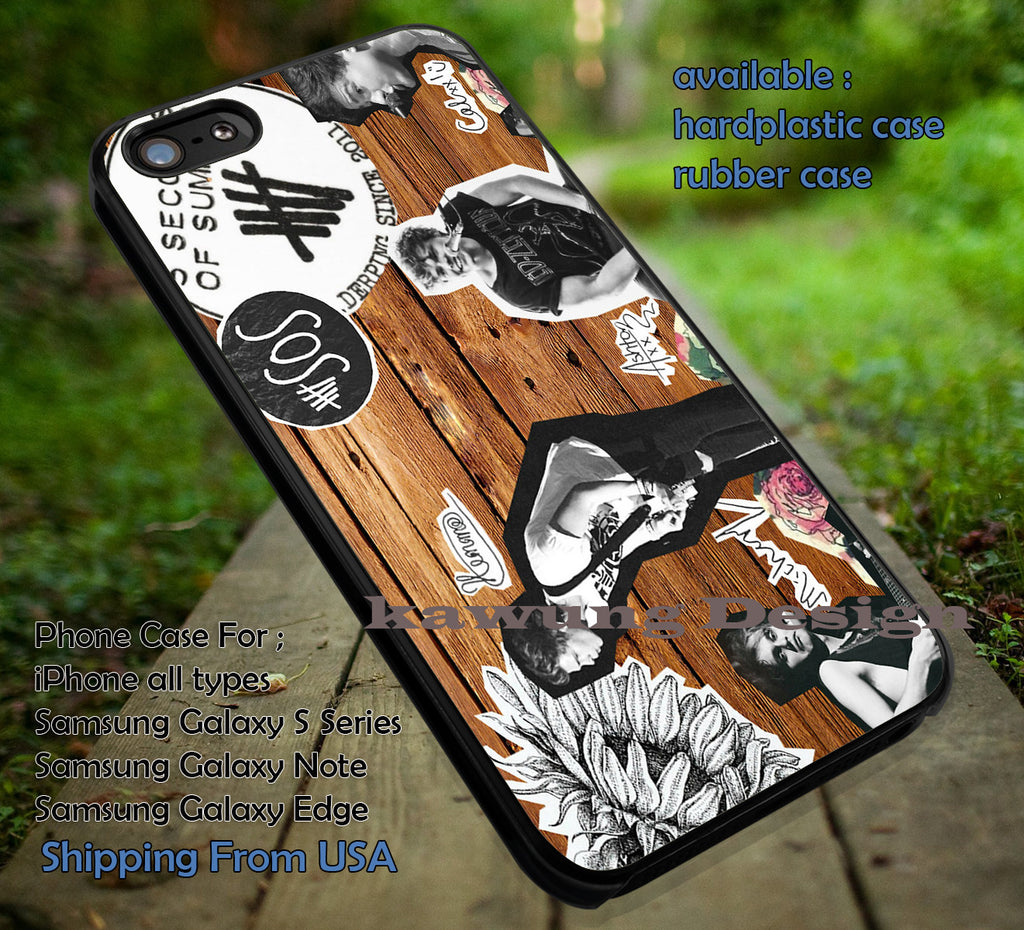 On stage collage, 5sos on wood, collage 5sos, cartoon, 5sos, 5 Second of Summer, case/cover for iPhone 4/4s/5/5c/6/6+/6s/6s+ Samsung Galaxy S4/S5/S6/Edge/Edge+ NOTE 3/4/5 #music #cartoon #5sos ii - Kawung Design  - 1