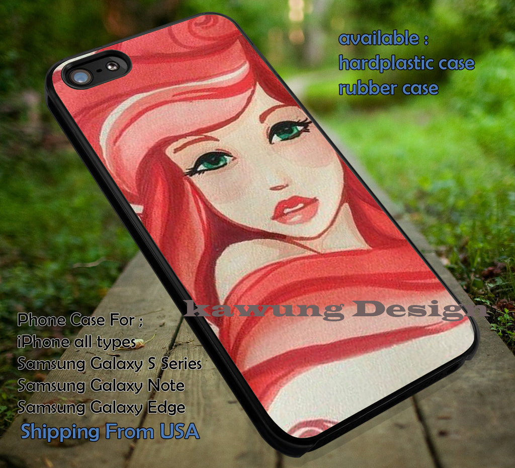 Art Painting Princess | Red Hair | Siren | Little Mermaid | Ariel | Disney Princess | case/cover for iPhone 4/4s/5/5c/6/6+/6s/6s+ Samsung Galaxy S4/S5/S6/Edge/Edge+ NOTE 3/4/5 #cartoon #disney #animated #theLittleMermaid ii - Kawung Design  - 1