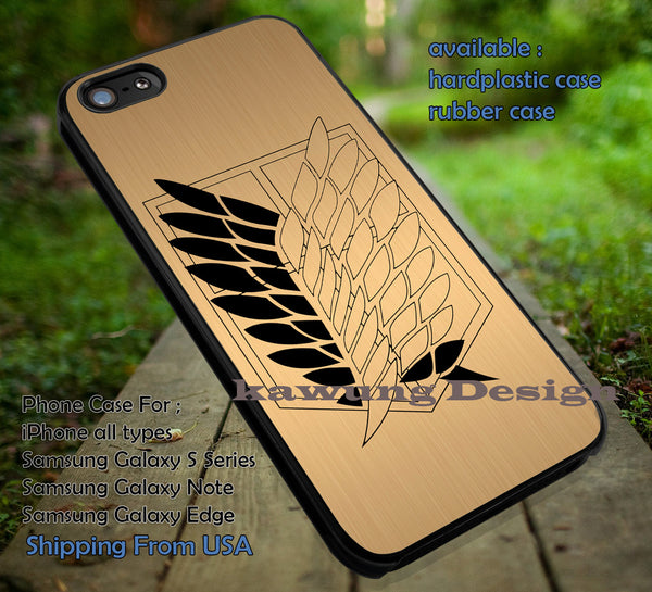 Attack on Titan Scouting Legion Golden, Eren, Levi Rivaille, Wings of Freedom ,Shingeki, No Kyojin, case/cover for iPhone 4/4s/5/5c/6/6+/6s/6s+ Samsung Galaxy S4/S5/S6/Edge/Edge+ NOTE 3/4/5 #cartoon #anime #attackontitan ii - Kawung Design  - 1