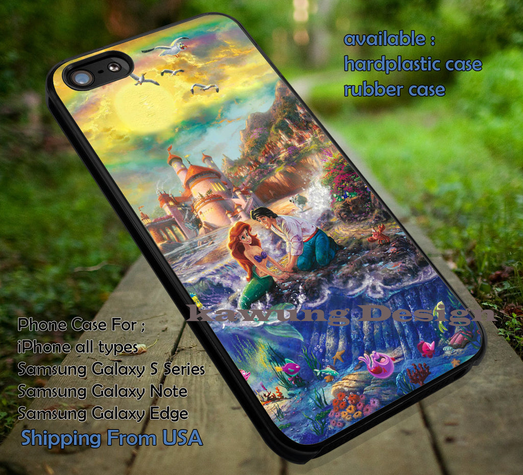 Beach Princess Falling in Love | Ariel | Little Mermaid | Disney Princess | case/cover for iPhone 4/4s/5/5c/6/6+/6s/6s+ Samsung Galaxy S4/S5/S6/Edge/Edge+ NOTE 3/4/5 #cartoon #disney #animated #theLittleMermaid ii - Kawung Design  - 1