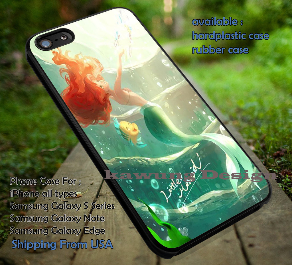Beautiful Mermaid Art in The Deep Sea | Ariel Little Mermaid | Disney Princess | case/cover for iPhone 4/4s/5/5c/6/6+/6s/6s+ Samsung Galaxy S4/S5/S6/Edge/Edge+ NOTE 3/4/5 #cartoon #disney #animated #theLittleMermaid ii - Kawung Design  - 1