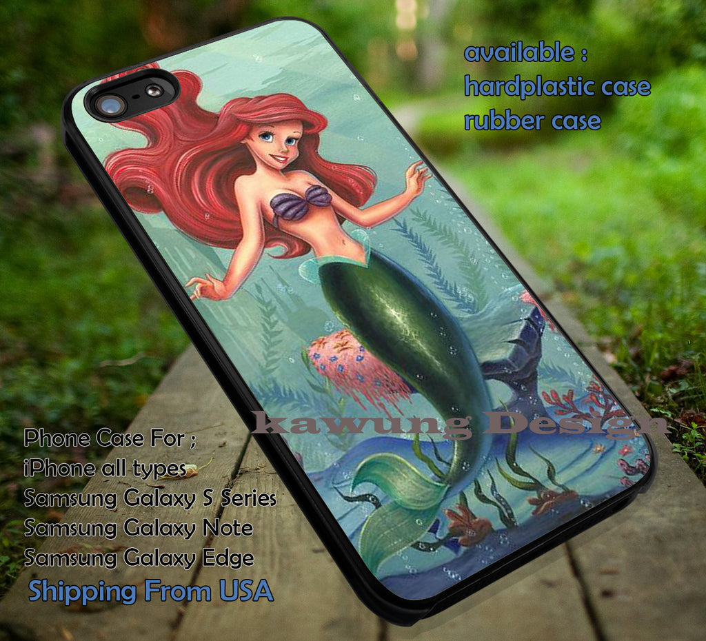 Beautiful Mermaid | Ariel Little Mermaid | Disney Princess | case/cover for iPhone 4/4s/5/5c/6/6+/6s/6s+ Samsung Galaxy S4/S5/S6/Edge/Edge+ NOTE 3/4/5 #cartoon #disney #animated #theLittleMermaid ii - Kawung Design  - 1
