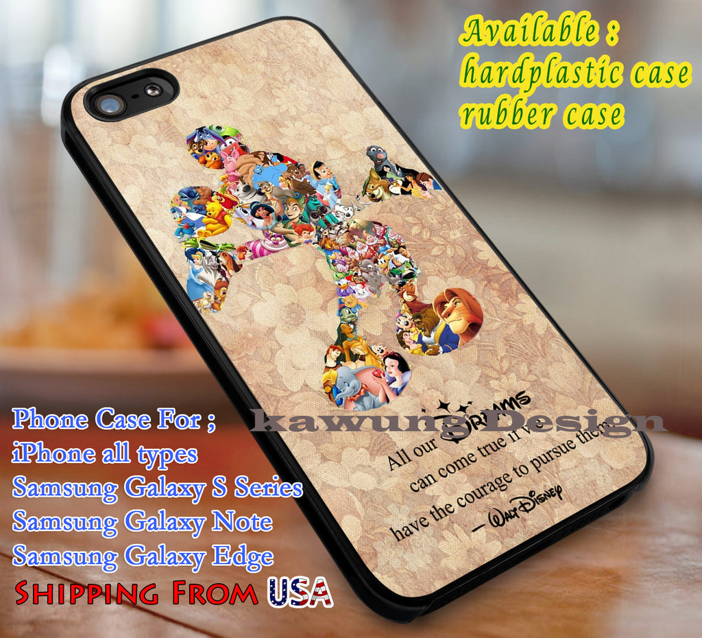 All Our Dreams Quote Mickey Mouse iPhone 8+ 7 6s Cases Samsung Galaxy S8 S7 edge NOTE 8 5 4
