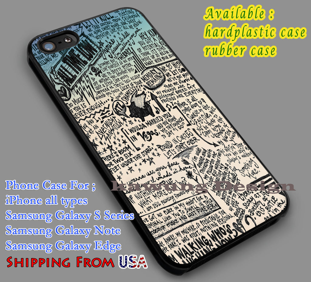 All Time Low Lyrics Quote iPhone 6s 6 6s+ 5c 5s Cases Samsung Galaxy s5 s6 Edge+ NOTE 5 4 3 #music #atl dl7 - Kawung Design  - 1