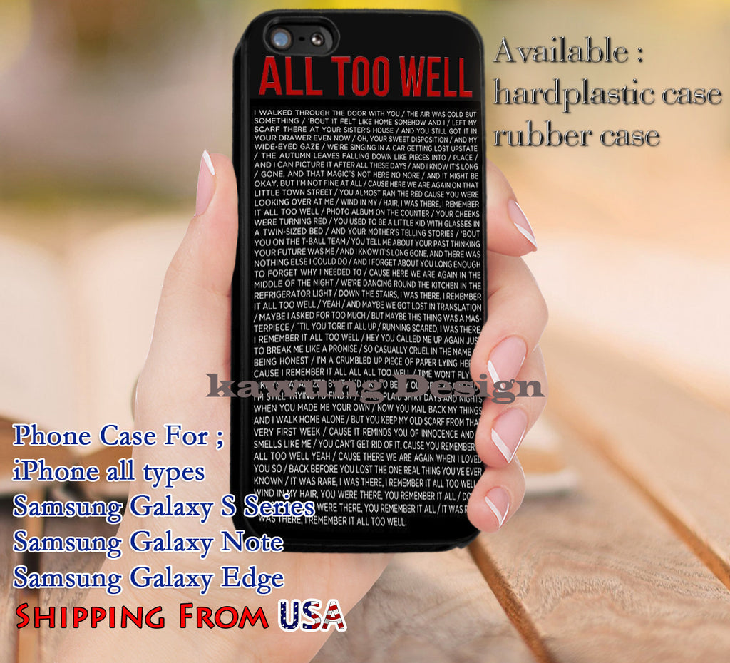 All Too Well Quote iPhone 6s 6 6s+ 5c 5s Cases Samsung Galaxy s5 s6 Edge+ NOTE 5 4 3 #music #ts dl9 - Kawung Design  - 1