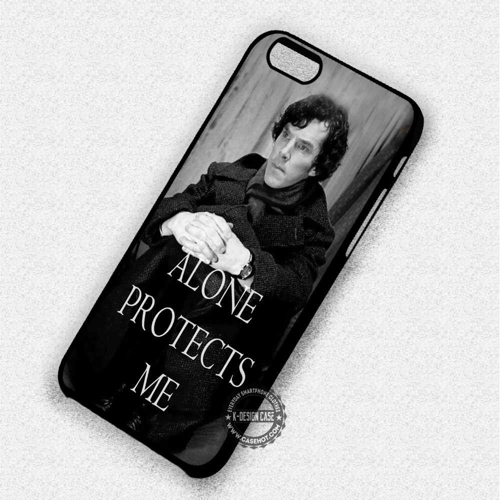 Alone Protects Me Sherlock Holmes Quote - iPhone 7 6 Plus 5c 5s SE Cases & Covers - Kawung Design  - 1