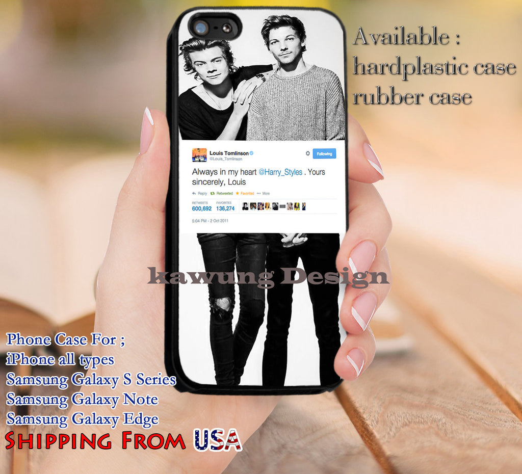 Always in My Heart Louis Tomlinson Harry Styles iPhone 6s 6 6s+ 5c 5s Cases Samsung Galaxy s5 s6 Edge+ NOTE 5 4 3 #music #1d dl12 - Kawung Design  - 1