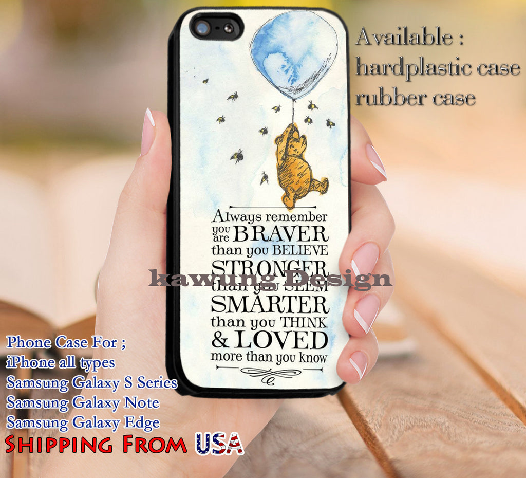 Always Remember Winnie The Pooh Quotes iPhone X 8+ 7 6s Cases Samsung Galaxy S8 S7 edge NOTE 8 5 4