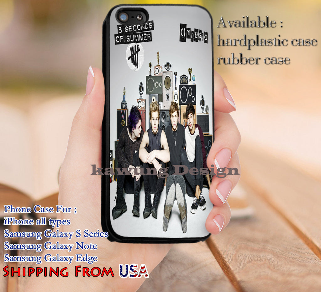 Amnesia 5SOS Cover iPhone 6s 6 6s+ 5c 5s Cases Samsung Galaxy s5 s6 Edge+ NOTE 5 4 3 #music #5sos dl12 - Kawung Design  - 1