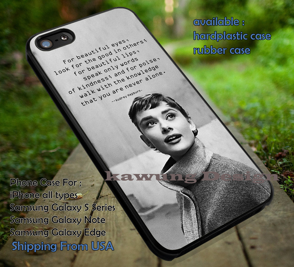 Audrey Hepburn Beauty Quotes iPhone 8+ 7 6s Cases Samsung Galaxy S8 S7 edge NOTE 8 5 4