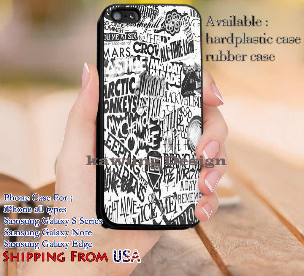Band's Logo Collage iPhone 6s 6 6s+ 5c 5s Cases Samsung Galaxy s5 s6 Edge+ NOTE 5 4 3 #music #5sos #sws #1975 dl14 - Kawung Design  - 1