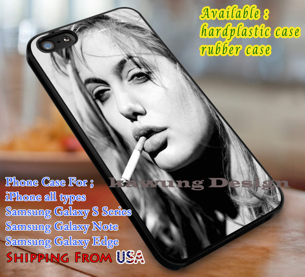 Beautiful Angelina Jolie Smoking iPhone 6s 6 6s+ 6plus Cases Samsung Galaxy s5 s6 Edge+ NOTE 5 4 3 #movie #maleficent dl3 - Kawung Design  - 1