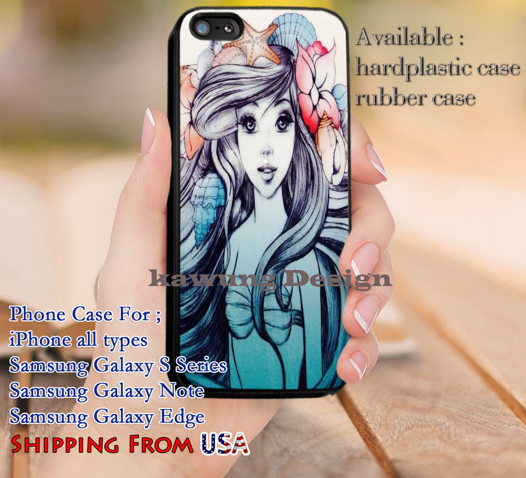 Beautiful Mermaid Ariel iPhone 6s 6 6s+ 5c 5s Cases Samsung Galaxy s5 s6 Edge+ NOTE 5 4 3 #cartoon #disney #animated #theLittleMermaid dl9 - Kawung Design  - 1