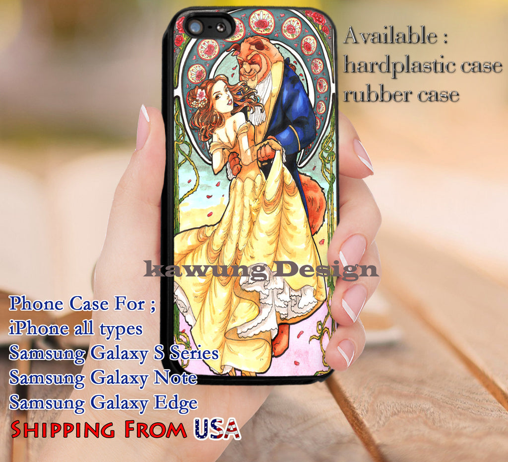 Beauty and The Beast Art Nouveau iPhone 6s 6 6s+ 5c 5s Cases Samsung Galaxy s5 s6 Edge+ NOTE 5 4 3 #cartoon #disney #animated #BeautyAndTheBeast dl9 - Kawung Design  - 1