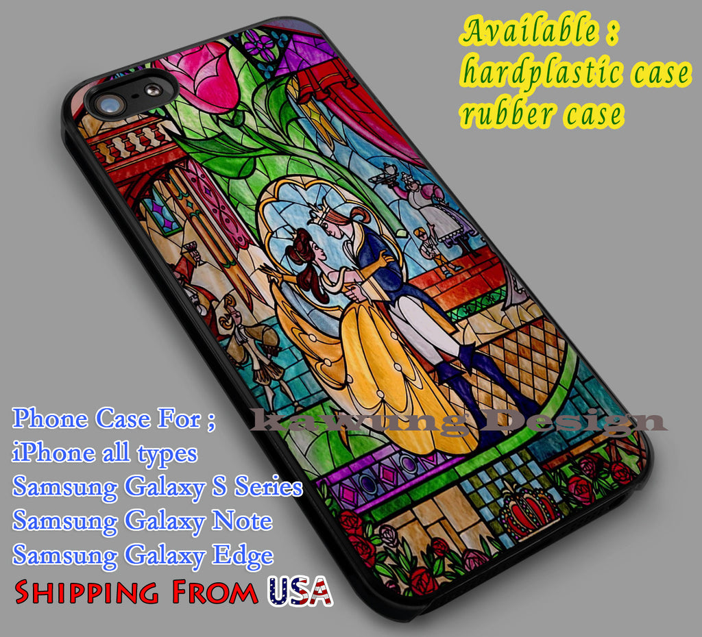 Beauty and The Beast Stained Glass iPhone 6s 6 6s+ 6plus Cases Samsung Galaxy s5 s6 Edge+ NOTE 5 4 3 #cartoon #disney #animated #BeautyAndTheBeast dl5 - Kawung Design  - 1