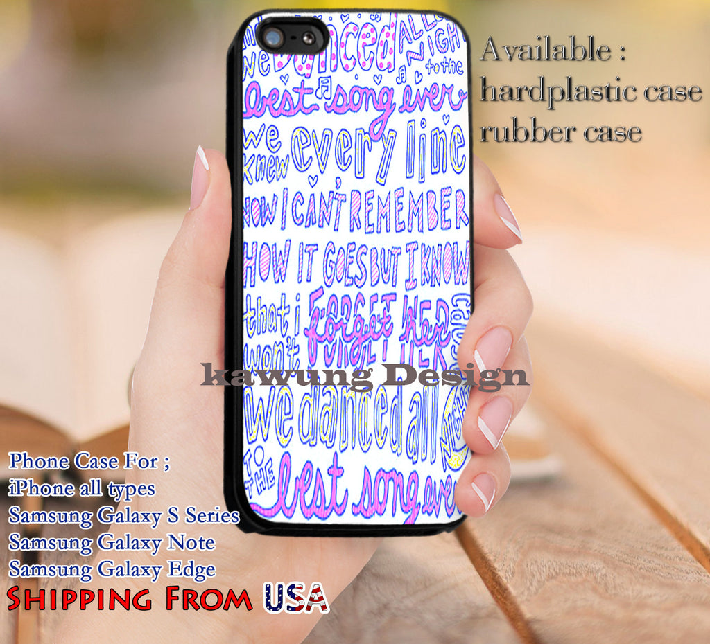 Best Song Ever One Direction Lyric iPhone 6s 6 6s+ 5c 5s Cases Samsung Galaxy s5 s6 Edge+ NOTE 5 4 3 #music #1d dl10 - Kawung Design  - 1