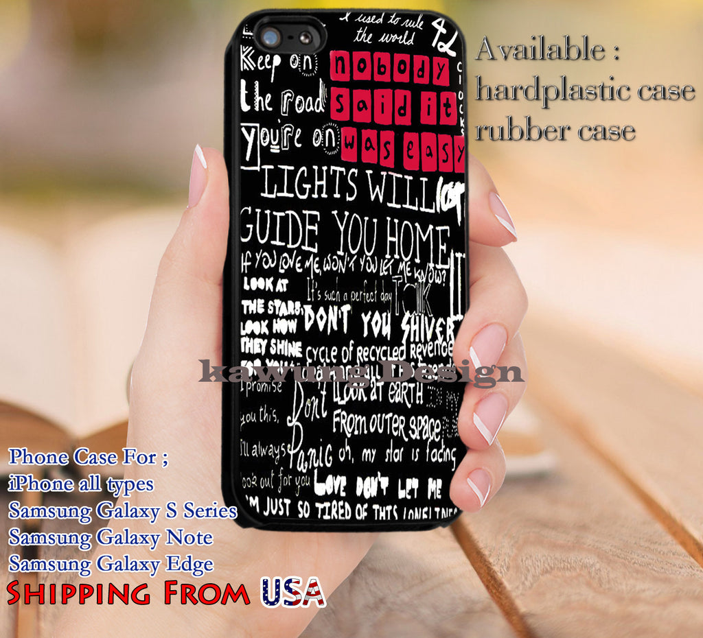 Best Lyrics Coldplay Collage iPhone 6s 6 6s+ 5c 5s Cases Samsung Galaxy s5 s6 Edge+ NOTE 5 4 3 #music #cdp dl10 - Kawung Design  - 1