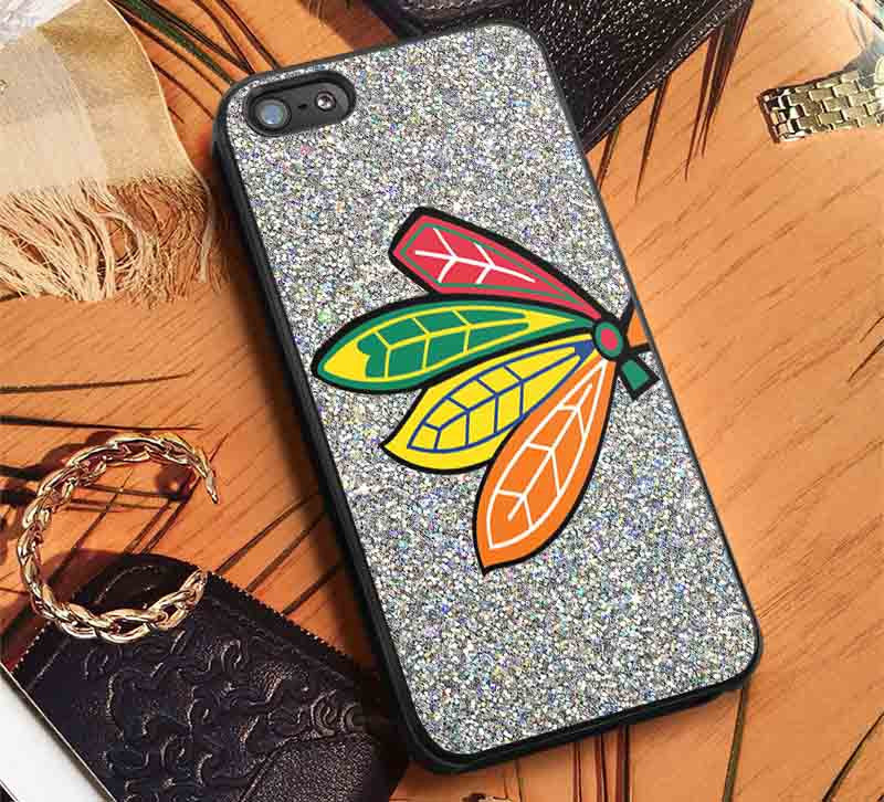 Blackhawks Logo Glitter iPhone 8+ 7 6s Cases Samsung Galaxy S8 S7 edge NOTE 8 5 4