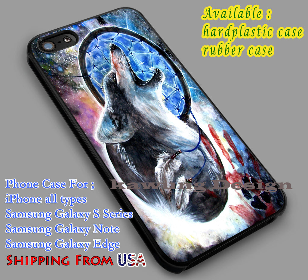 Blue Wolf Dream Catcher iPhone 6s 6 6s+ 6plus Cases Samsung Galaxy s5 s6 Edge+ NOTE 5 4 3 #movie #supernatural dl4 - Kawung Design  - 4
