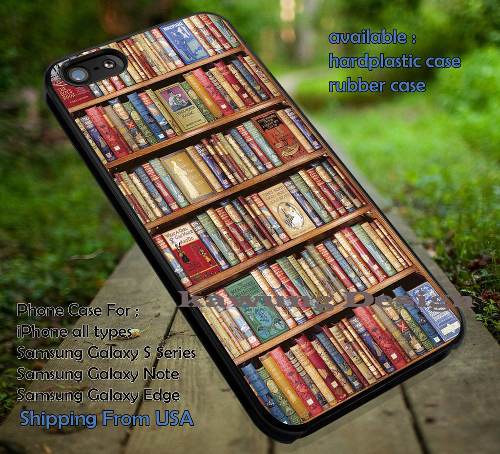 Bookshelf Book Library iPhone 6s 6 6s+ 6plus Cases Samsung Galaxy s5 s6 Edge+ NOTE 5 4 3 #art ii - Kawung Design  - 1