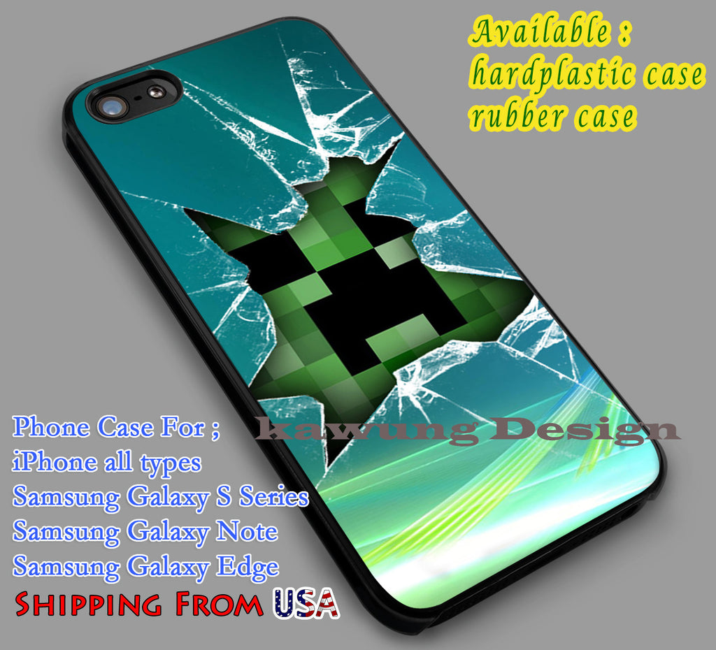 Broken Window Minecraft Creeper iPhone 7 7+ 6s 6 Cases Samsung Galaxy S8 S7 edge S6 S5  NOTE 5 4