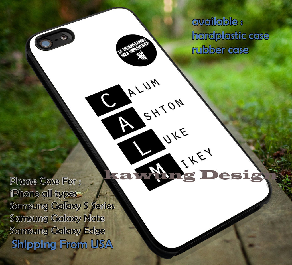 CALM, calum, ashton, luke, mikey, 5sos, 5 Second of Summer, case/cover for iPhone 4/4s/5/5c/6/6+/6s/6s+ Samsung Galaxy S4/S5/S6/Edge/Edge+ NOTE 3/4/5 #music #cartoon #5sos ii - Kawung Design  - 1