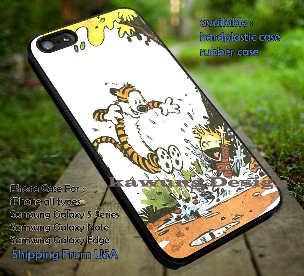 Calvin and Hobbes, Best Friend, Playing, Together, Cartoon, River, case/cover for iPhone 4/4s/5/5c/6/6+/6s/6s+ Samsung Galaxy S4/S5/S6/Edge/Edge+ NOTE 3/4/5 #cartoon #anime #calvinandhobbes ii - Kawung Design  - 1