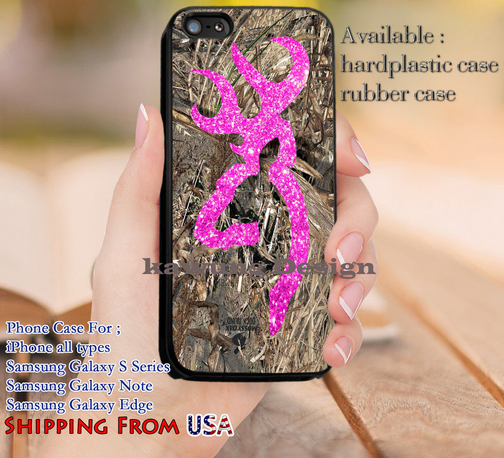 Camo Pink Glitter Browning Deer iPhone 8+ 7 6s Cases Samsung Galaxy S8 S7 edge NOTE 8 5 4
