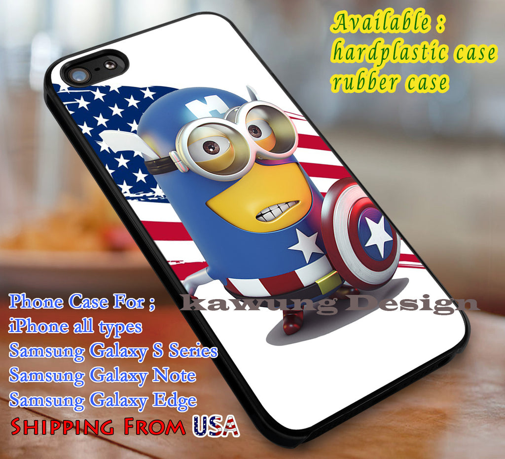 Captain Mini Captain America Despicable Me iPhone 6s 6 6s+ 6plus Cases Samsung Galaxy s5 s6 Edge+ NOTE 5 4 3 #cartoon #animated #DespicableMe #superheroes dl3 - Kawung Design  - 1