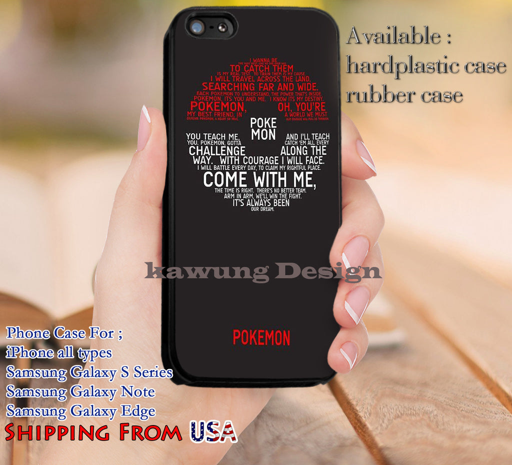 Come With Me Pokemon Quotes iPhone 6s 6 6s+ 5c 5s Cases Samsung Galaxy s5 s6 Edge+ NOTE 5 4 3 #cartoon #animated #Pokemon dl13 - Kawung Design  - 1