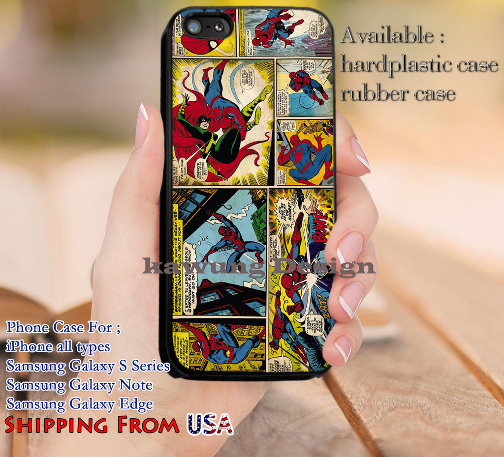 Comic Strips Spiderman iPhone 6s 6 6s+ 5c 5s Cases Samsung Galaxy s5 s6 Edge+ NOTE 5 4 3 #movie #disney #animated #marvel #comic #spiderman dl12 - Kawung Design  - 1