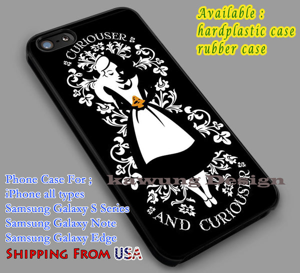 Curiouser | Alice & Wonderland | Disney iPhone 6s 6 6s+ 6plus Cases Samsung Galaxy s5 s6 Edge+ NOTE 5 4 3 #cartoon #anime #alice dl2 - Kawung Design  - 1