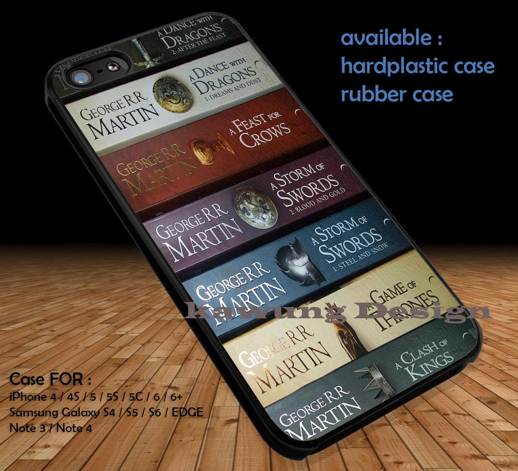 Game Of Thrones All Books DOP1101 case/cover for iPhone 4/4s/5/5c/6/6+/6s/6s+ Samsung Galaxy S4/S5/S6/Edge/Edge+ NOTE 3/4/5 #movie #gameofthrones - Kawung Design  - 1