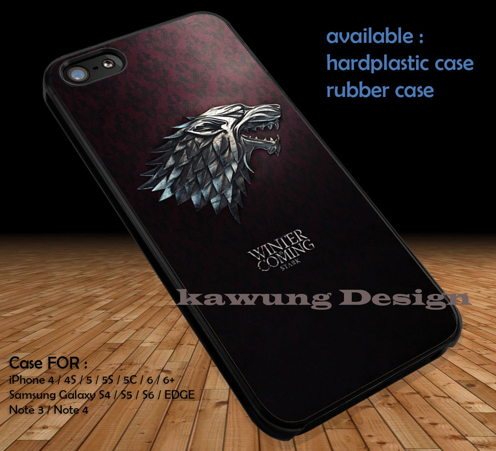 Game of Thrones House Stark DOP1102 case/cover for iPhone 4/4s/5/5c/6/6+/6s/6s+ Samsung Galaxy S4/S5/S6/Edge/Edge+ NOTE 3/4/5 #movie #gameofthrones - Kawung Design  - 1
