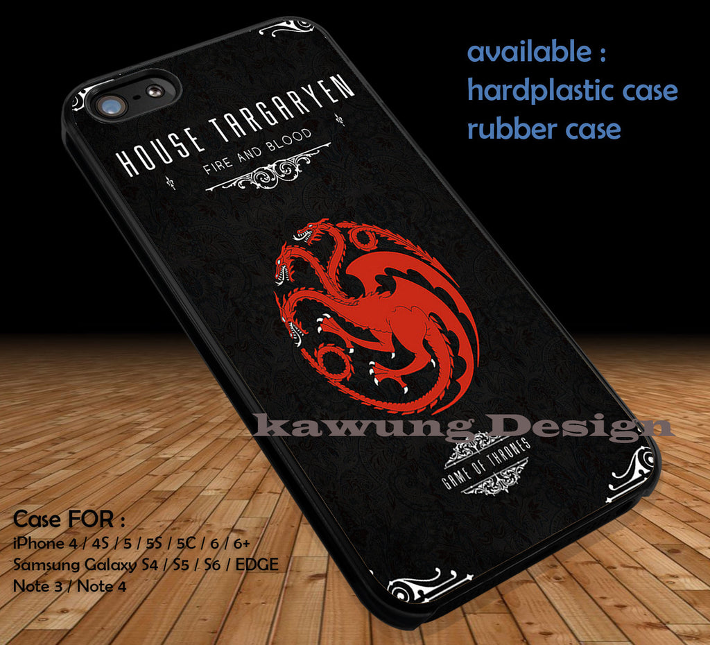 Game of Thrones  House Targaryen  DOP1103 case/cover for iPhone 4/4s/5/5c/6/6+/6s/6s+ Samsung Galaxy S4/S5/S6/Edge/Edge+ NOTE 3/4/5 #movie #gameofthrones - Kawung Design  - 1