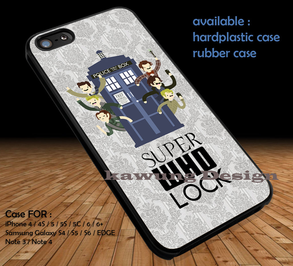 SuperWhoLock Cute DOP1132 case/cover for iPhone 4/4s/5/5c/6/6+/6s/6s+ Samsung Galaxy S4/S5/S6/Edge/Edge+ NOTE 3/4/5 #movie #cartoon #superwholock - Kawung Design  - 1