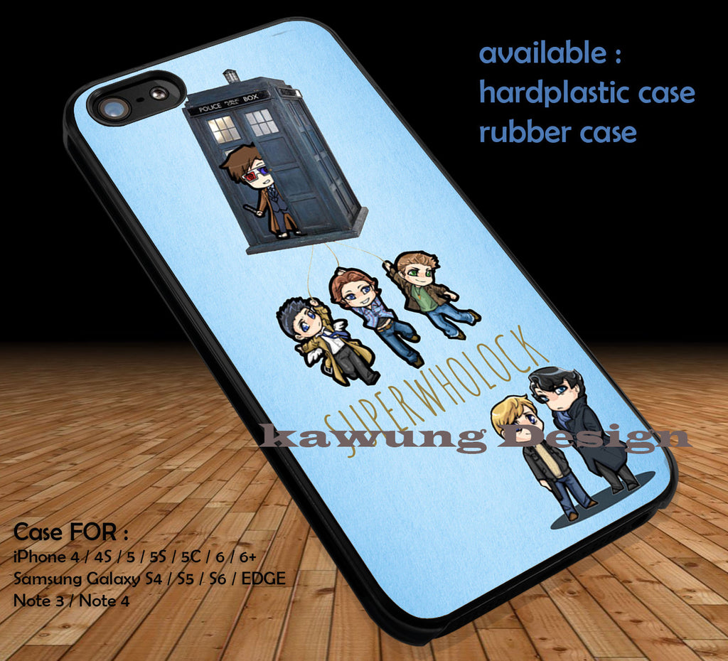 SuperWhoLock Cute and Tardis DOP1133 case/cover for iPhone 4/4s/5/5c/6/6+/6s/6s+ Samsung Galaxy S4/S5/S6/Edge/Edge+ NOTE 3/4/5 #movie #cartoon #superwholock #supernatural #doctorwho #sherlockholmes - Kawung Design  - 1