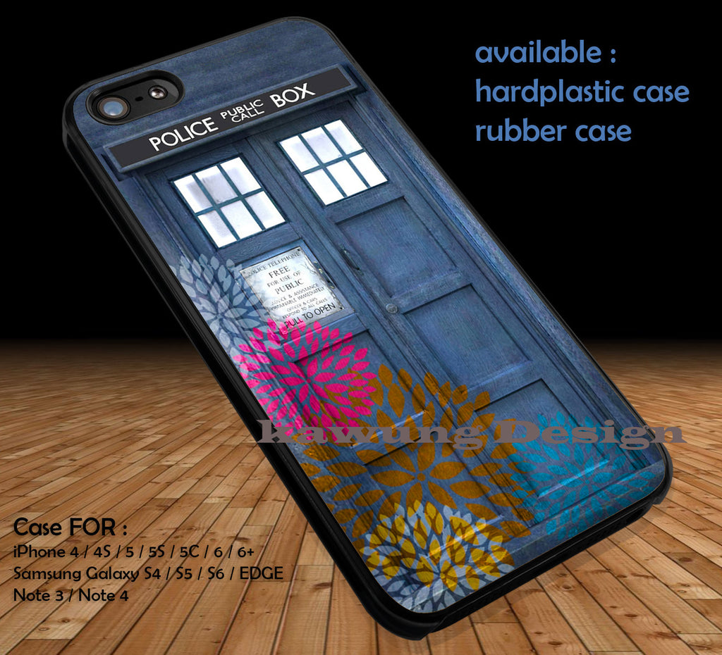 Tardis Colorful Dahlia Print Doctor Who DOP1136 case/cover for iPhone 4/4s/5/5c/6/6+/6s/6s+ Samsung Galaxy S4/S5/S6/Edge/Edge+ NOTE 3/4/5 #movie #cartoon #doctorwho - Kawung Design  - 1