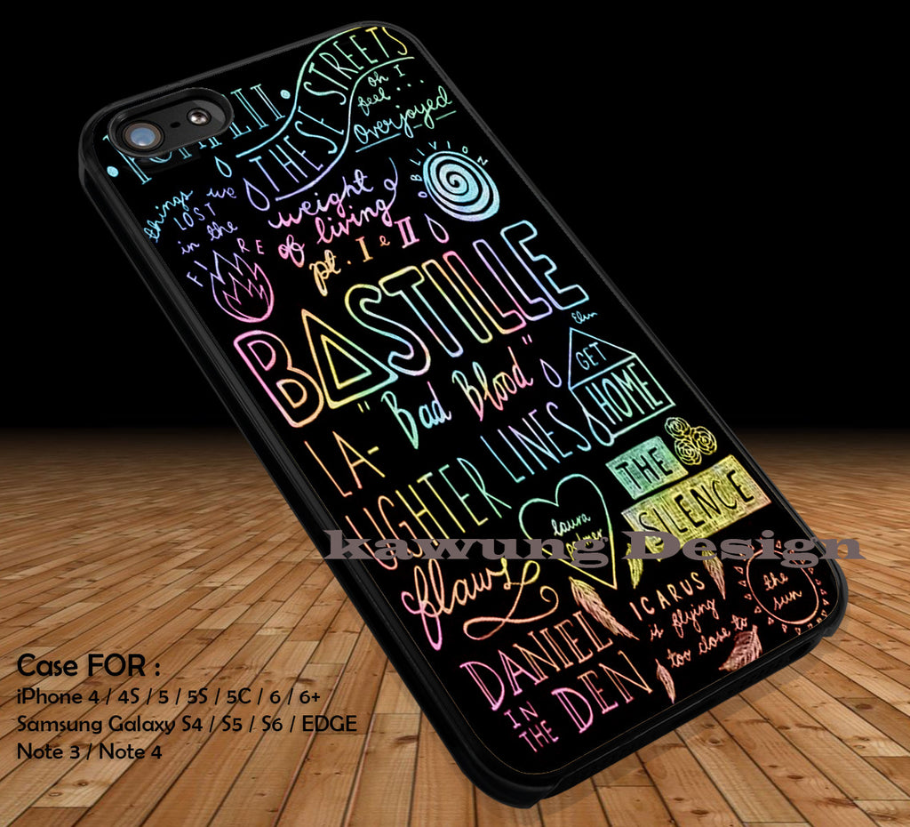 Bastille Lyrics Collage DOP1178 iPhone 6s 6 6s+ 5c 5s Cases Samsung Galaxy s5 s6 Edge+ NOTE 5 4 3 #music #bst - Kawung Design  - 1