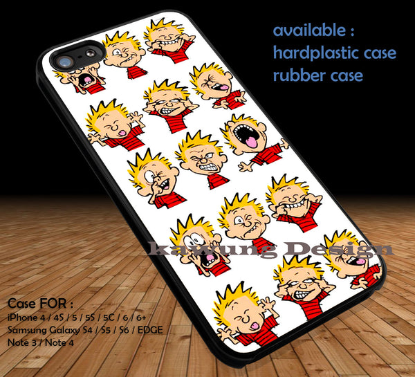 Calvin Funny face Calvin and Hobbes DOP117 case/cover for iPhone 4/4s/5/5c/6/6+/6s/6s+ Samsung Galaxy S4/S5/S6/Edge/Edge+ NOTE 3/4/5 #cartoon #anime #calvinandhobbes - Kawung Design  - 1