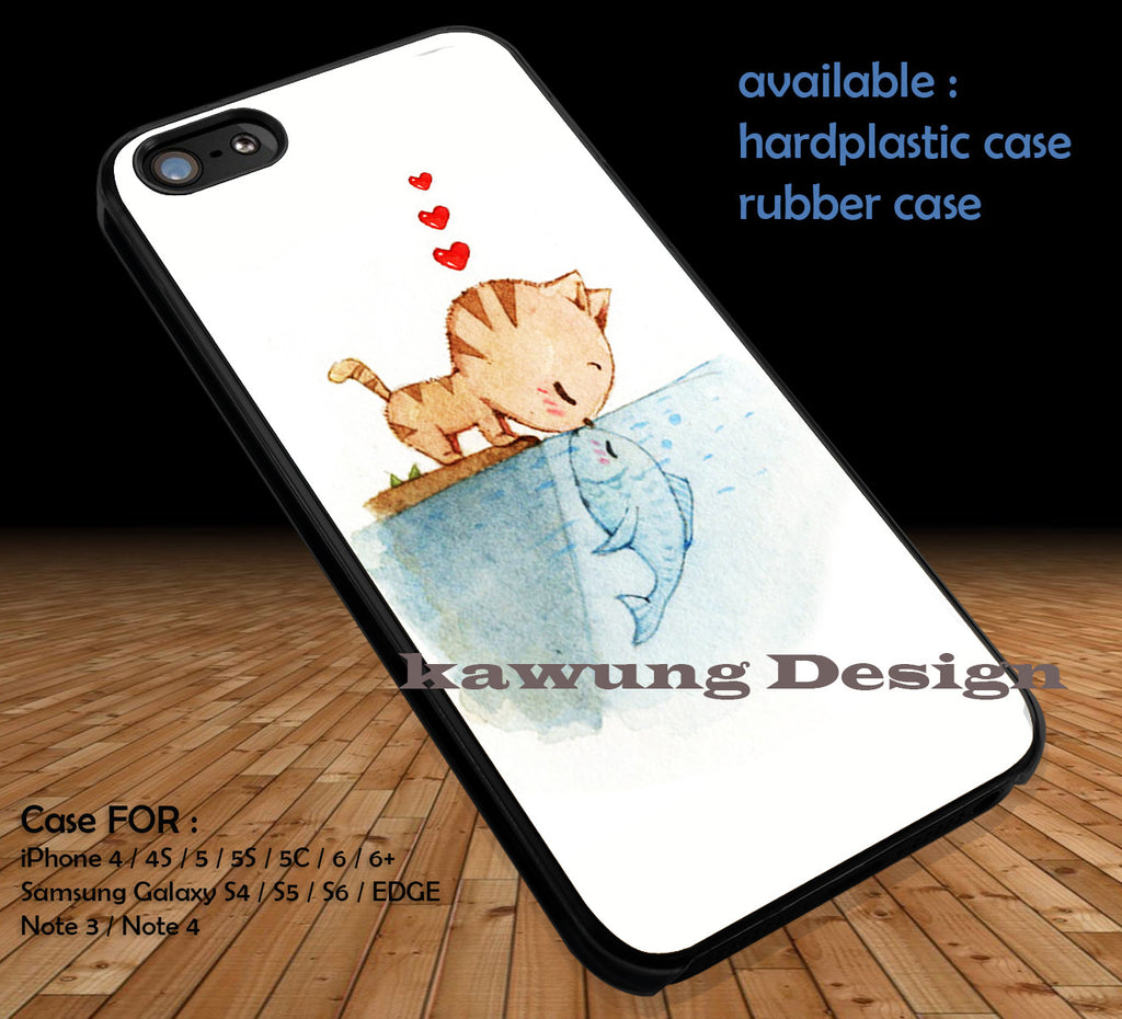 Cat Kissing A Fish The Little Mermaid DOP119 case/cover for iPhone 4/4s/5/5c/6/6+/6s/6s+ Samsung Galaxy S4/S5/S6/Edge/Edge+ NOTE 3/4/5 #cartoon #disney #animated #thelittlemermaid - Kawung Design  - 1