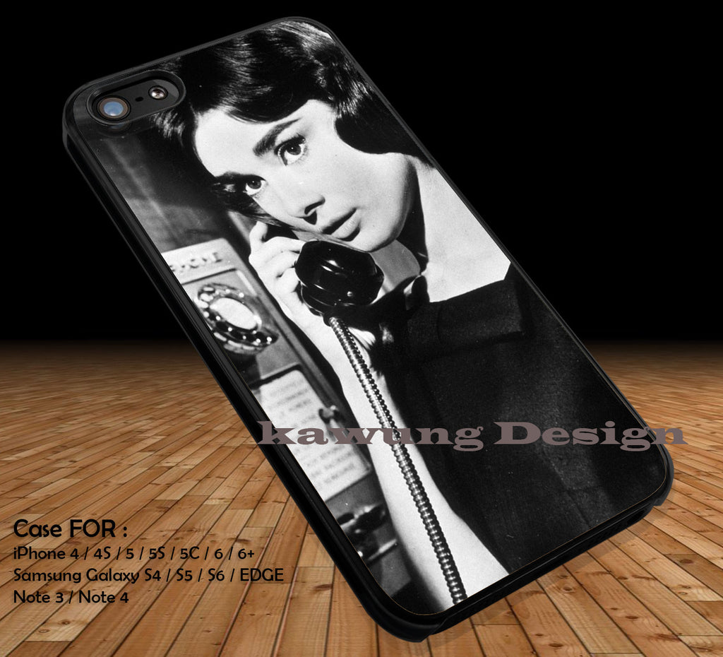 Audrey Hepburn On Telephone DOP1216 iPhone 6s 6 6s+ 5c 5s Cases Samsung Galaxy s5 s6 Edge+ NOTE 5 4 3 #movie #actrees #adh - Kawung Design  - 1
