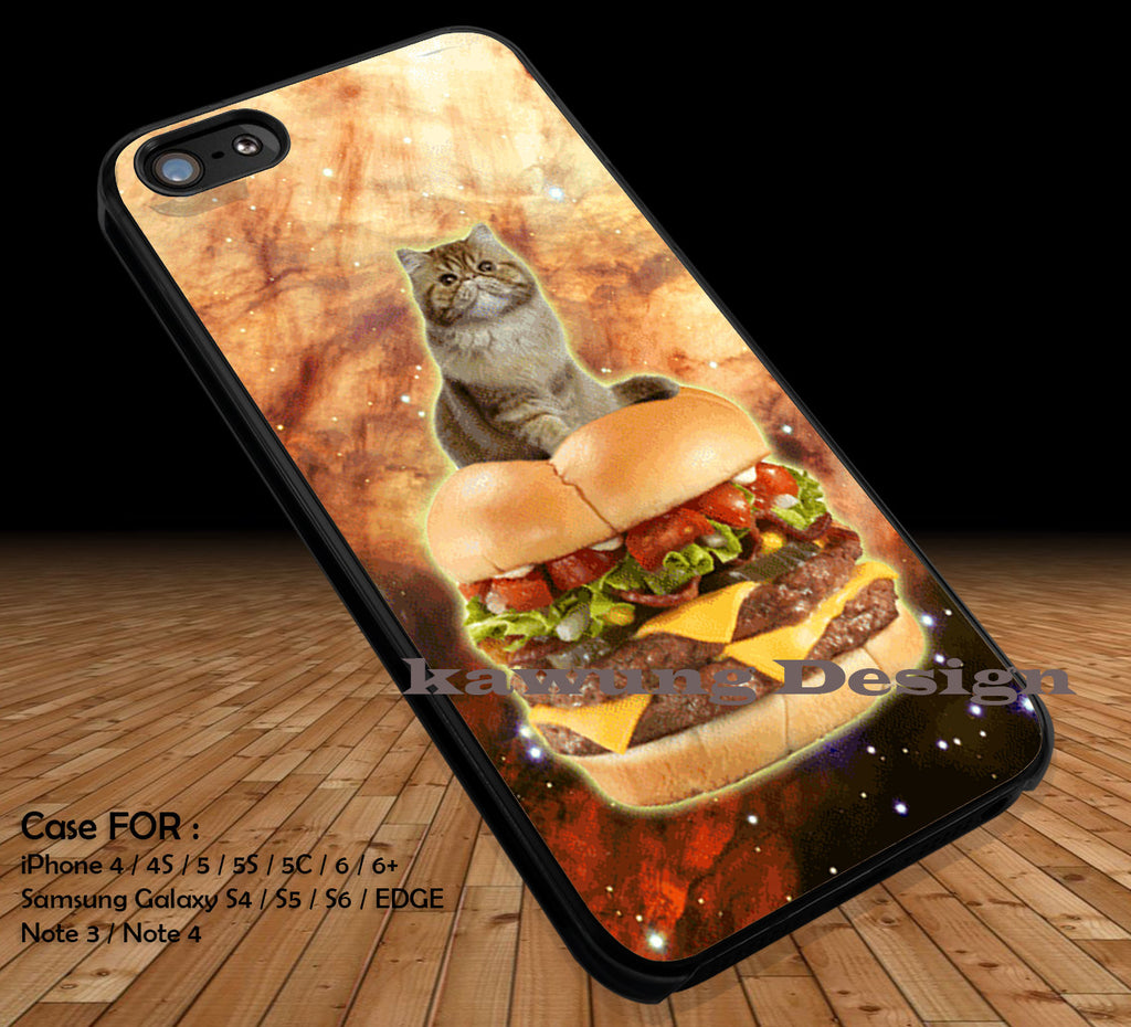 Burger Cat in Space Galaxy Cute Kitty DOP1222 iPhone 6s 6 6s+ 5c 5s Cases Samsung Galaxy s5 s6 Edge+ NOTE 5 4 3 #art - Kawung Design  - 1