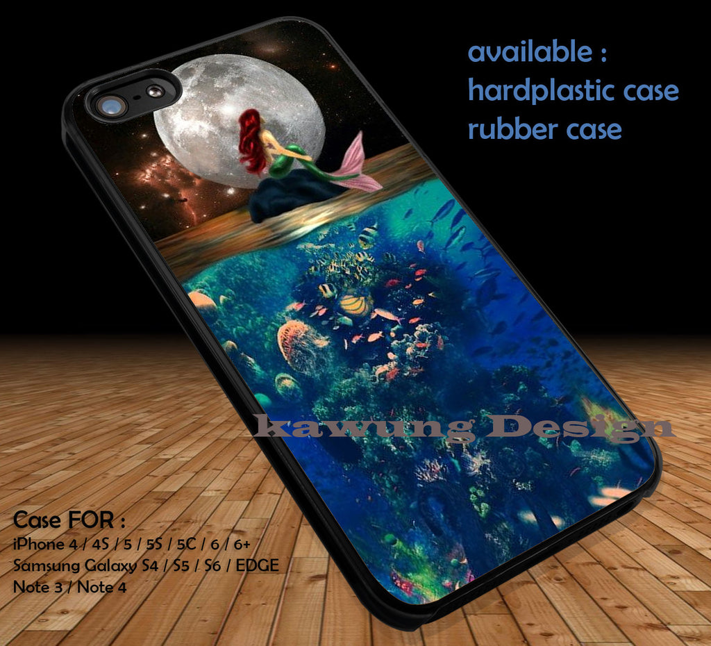 The Moon Ariel The Little Mermaid DOP177 case/cover for iPhone 4/4s/5/5c/6/6+/6s/6s+ Samsung Galaxy S4/S5/S6/Edge/Edge+ NOTE 3/4/5 #cartoon #disney #animated #thelittlemermaid - Kawung Design  - 1