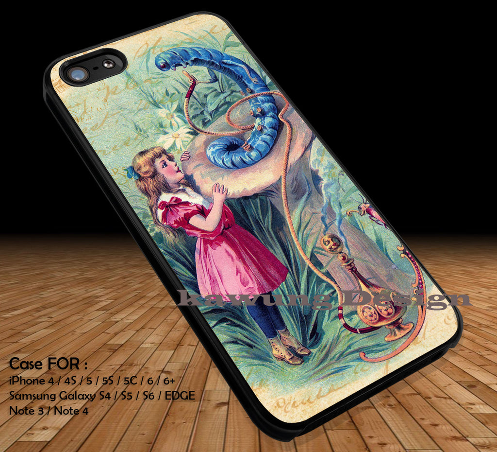 Caterpillar and Alice in Wonderland DOP22 case/cover for iPhone 4/4s/5/5c/6/6+/6s/6s+ Samsung Galaxy S4/S5/S6/Edge/Edge+ NOTE 3/4/5 #cartoon #anime #alice - Kawung Design  - 1