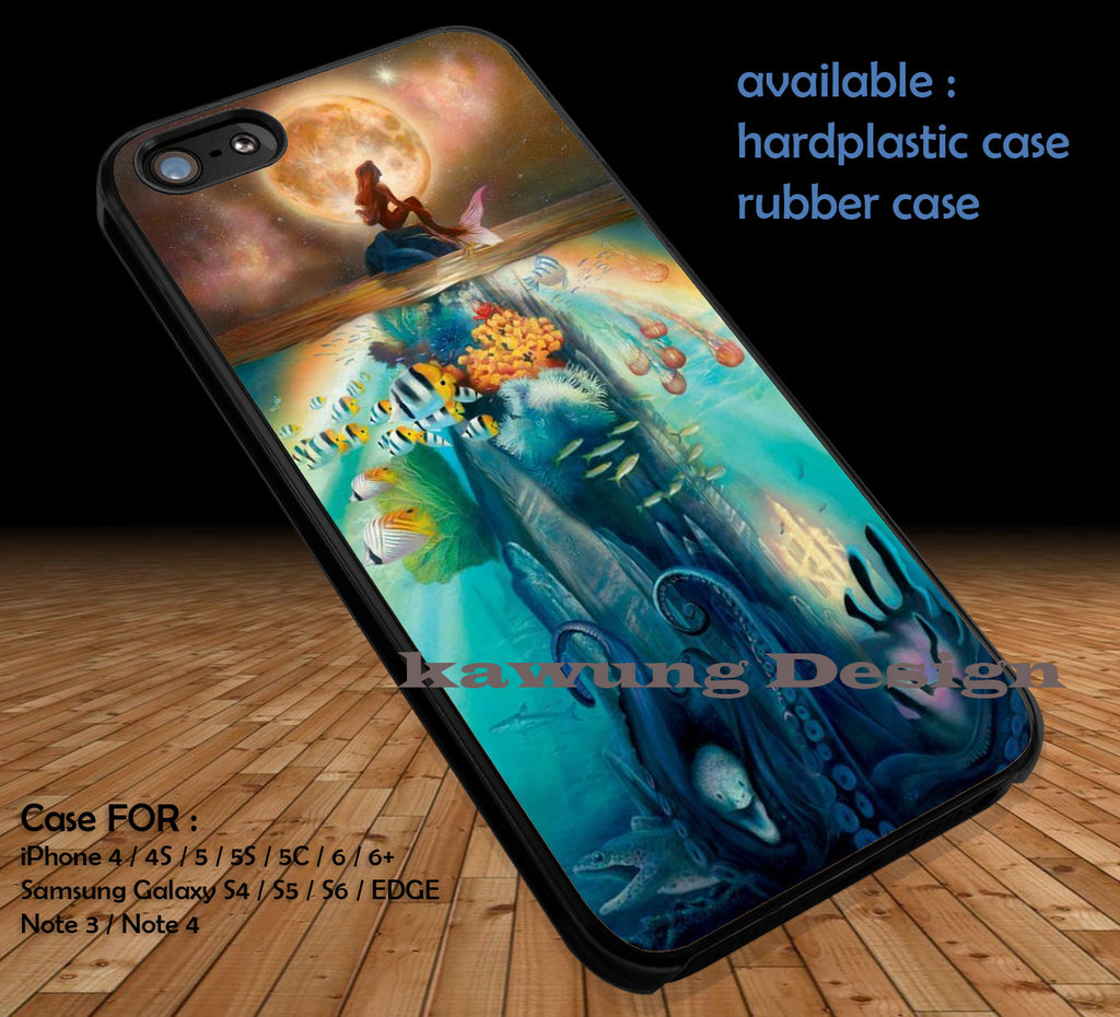 Ariel Moon Underwater iPhone 6s 6 6s+ 5c 5s Cases Samsung Galaxy s5 s6 Edge+ NOTE 5 4 3 #cartoon #disney #animated #theLittleMermaid DOP36 - Kawung Design  - 1