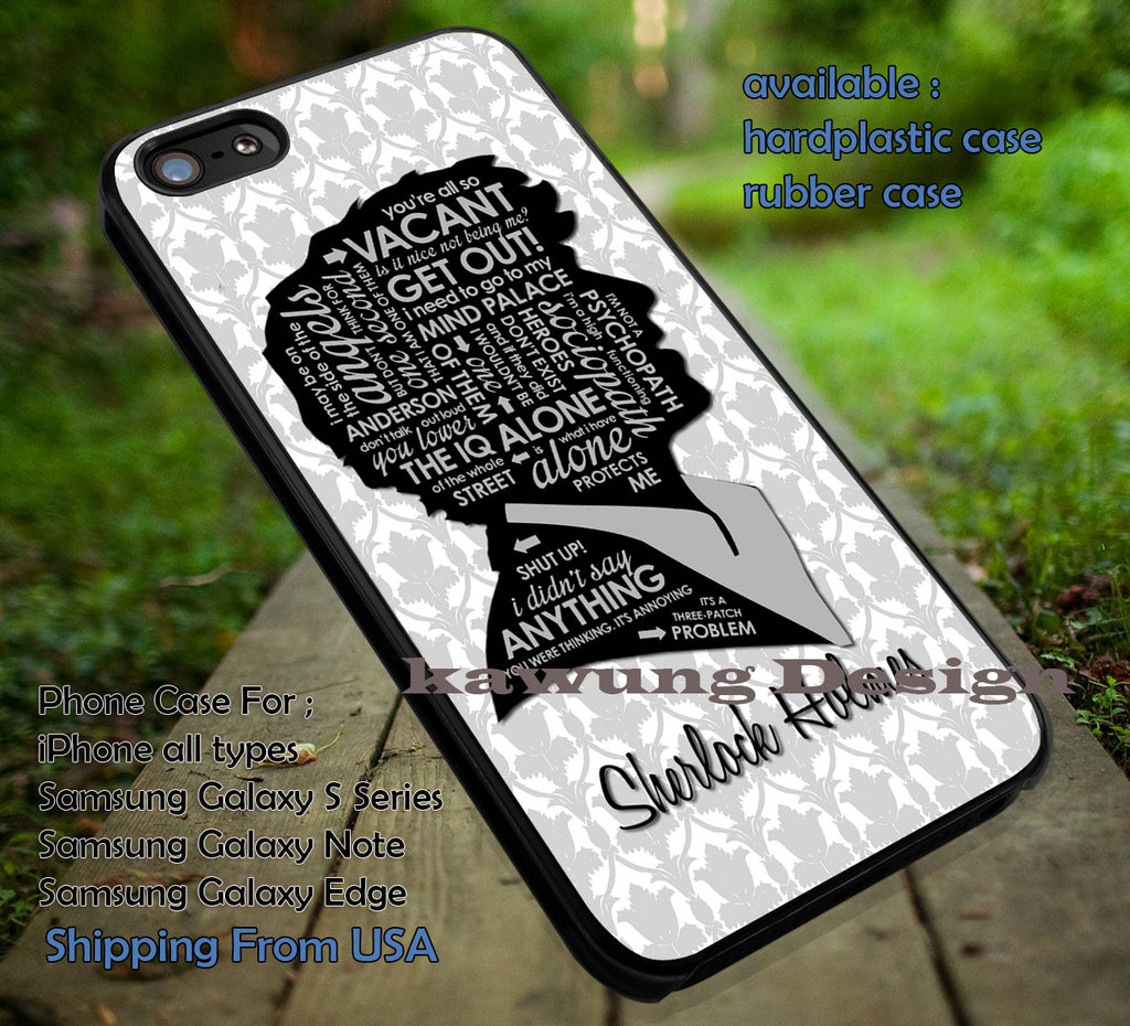 Silhouette Quotes Sherlock Holmes DOP7113 case/cover for iPhone 4/4s/5/5c/6/6+/6s/6s+ Samsung Galaxy S4/S5/S6/Edge/Edge+ NOTE 3/4/5 #movie #sherlock - Kawung Design  - 1