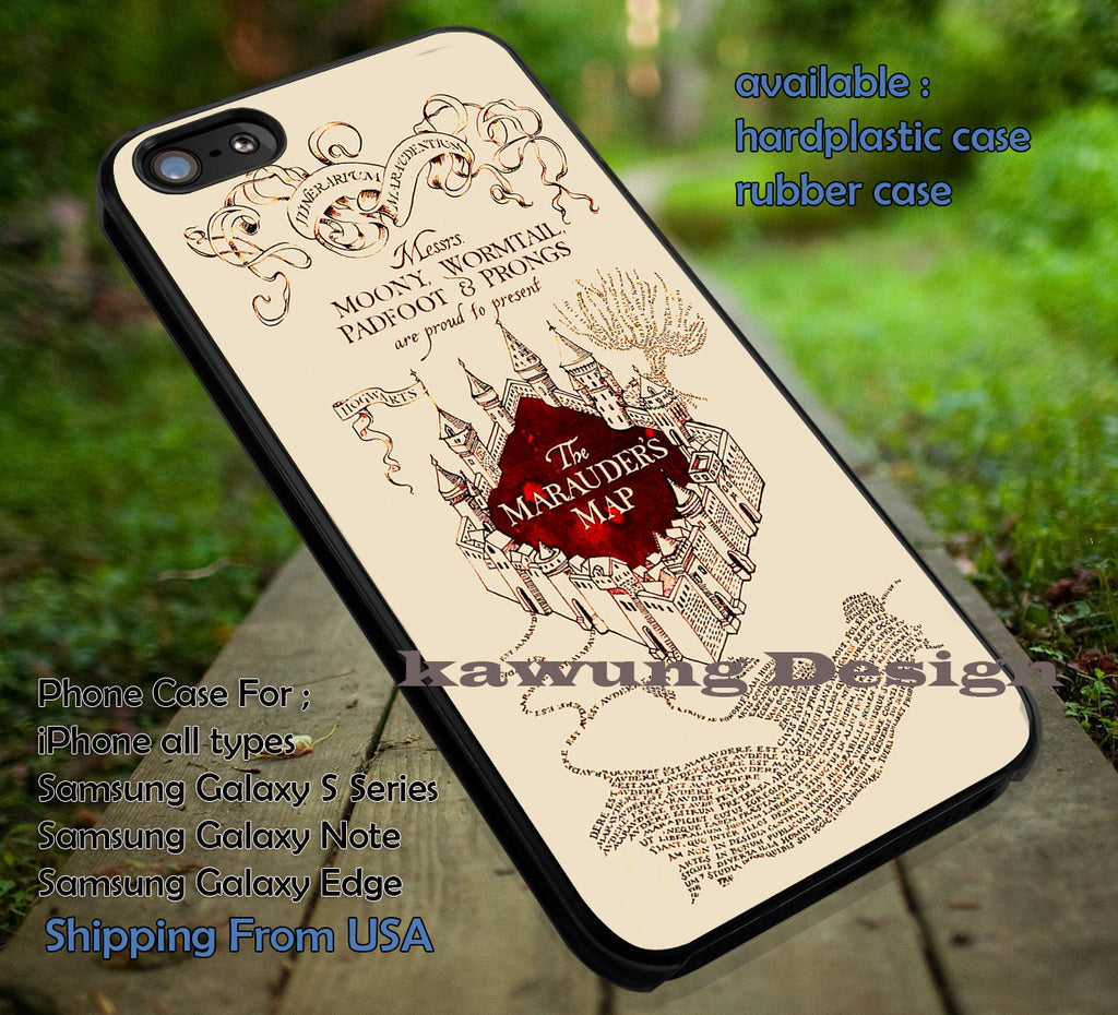 Merauder's Map Harry Potter Deathly Hallows DOP7114  case/cover for iPhone 4/4s/5/5c/6/6+/6s/6s+ Samsung Galaxy S4/S5/S6/Edge/Edge+ NOTE 3/4/5 #movie #hp - Kawung Design  - 1