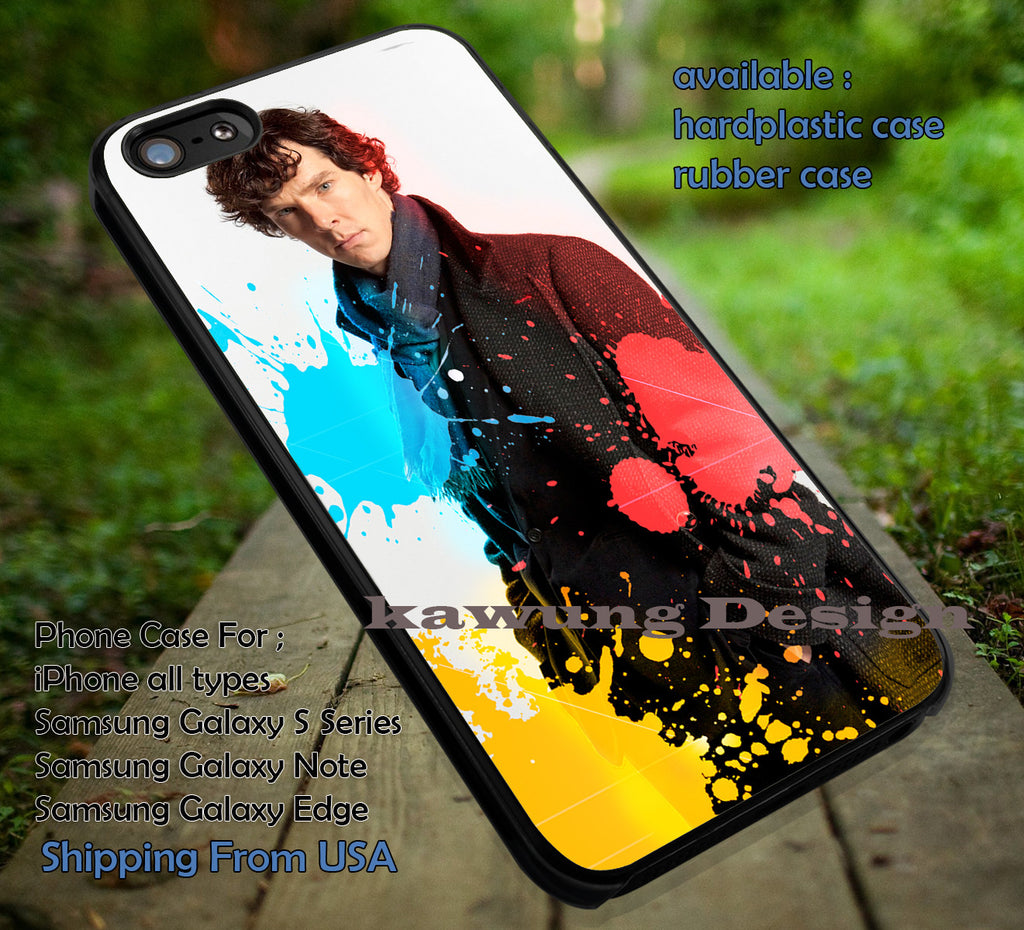 Detective Sherlock Holmes DOP791 case/cover for iPhone 4/4s/5/5c/6/6+/6s/6s+ Samsung Galaxy S4/S5/S6/Edge/Edge+ NOTE 3/4/5 #movie #sherlock - Kawung Design  - 1